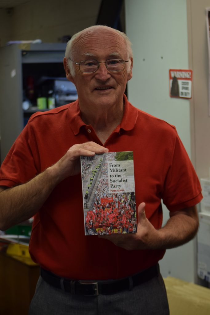 Author Peter Taaffe with From Militant to the Socialist Party. Photo Mary Finch.