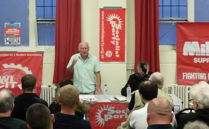 Peter Taaffe speaks in Coventry, 2016. Photo Socialist Party
