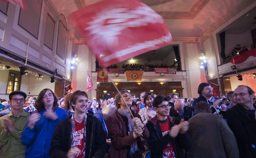 Socialism 2014 rally flag waving. Pic Paul Mattsson